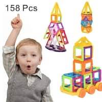 Costway 158 Pcs Magical Magnet Building Block Educational Toy For Kids Colorful Gift Set - as pic