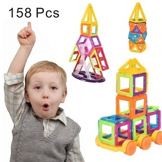 Costway 158 Pcs Magical Magnet Building Block Educational Toy For Kids Colorful Gift Set