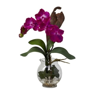Nearly Natural Mini Vanda with Fluted Vase Silk Flower Arrangement