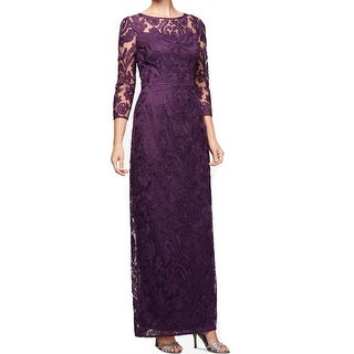 Alex Evenings Eggplant Purple Womens Size 8 Lace Embroidered Gown