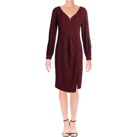 Nanette Lepore Womens Mini Dress Ladder Stitch Bishop Sleeves - Scarlet