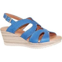 Dromedaris Women's Lauren Slingback Sandal Cobalt Waxed Leather