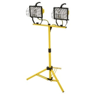 "Designers Edge L13 7"" Wide 2-Light 1000 W Outdoor Worklight with Glass Guard and Telescoping Stand - Yellow"