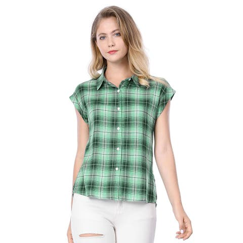 Unique Bargains Women's Rolled Cuffs Point Collar Button Down Plaids Shirt - Green