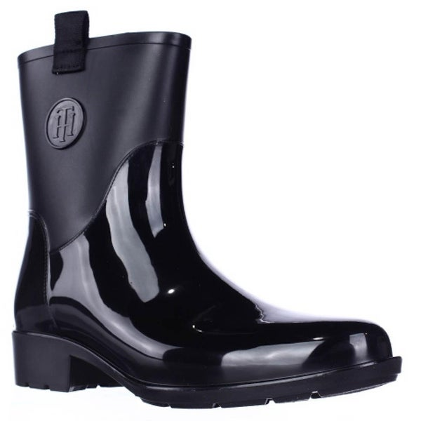 Tommy Hilfiger Khristie Pull On Tab Ankle Rain Boots, Black