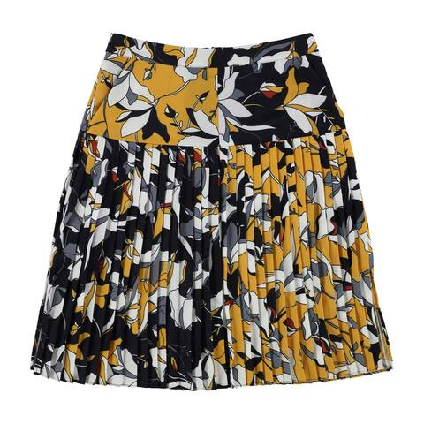 French Connection Womens Aventine Pleated Skirt, Yellow, 2