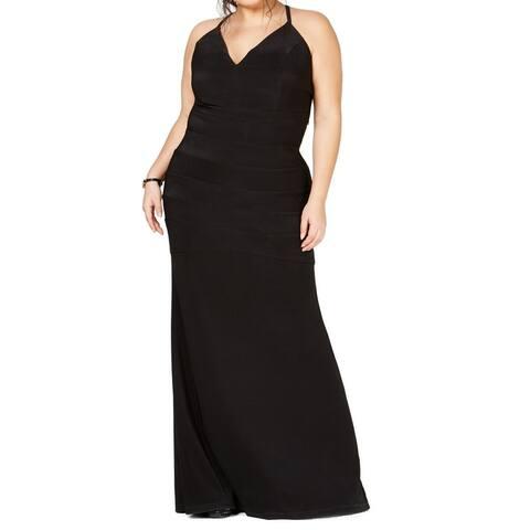 Emerald Sundae Womens Dress Black Size 2X Plus Lace Racerback Gown