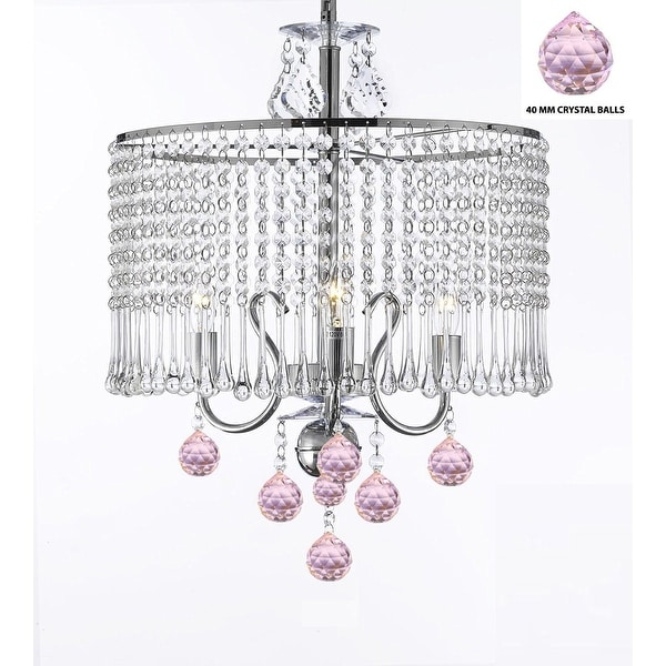 Contemporary 3 Light Swag Plug In Crystal Chandelier With Shade And Pink