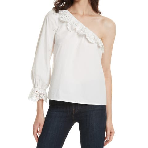 Joie White Womens Size XS Eyelet Ruffle-Trim One-Shoulder Blouse