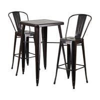 Offex Black-Antique Gold Metal Indoor-Outdoor Bar Table Set With 2 Barstools