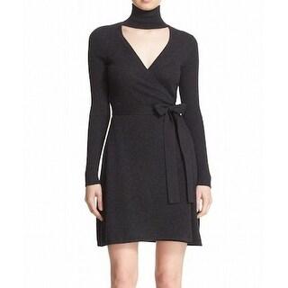Diane von Furstenberg NEW Gray Womens Size Large L Janeva Wrap Dress