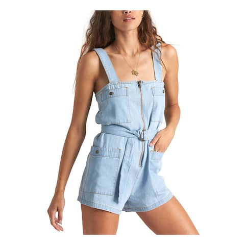 BILLABONG Light Blue Sleeveless Tank Cropped Romper Size S