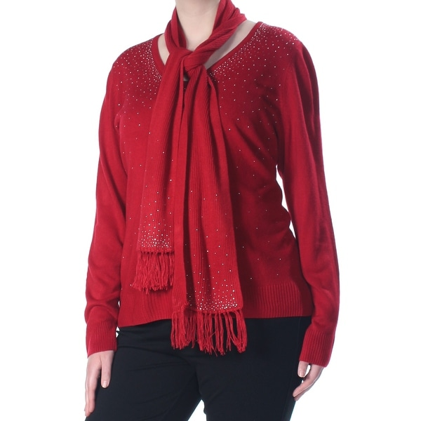 KAREN SCOTT Womens Red Embellished & Scarf Long Sleeve Sweater Plus Size: 1X