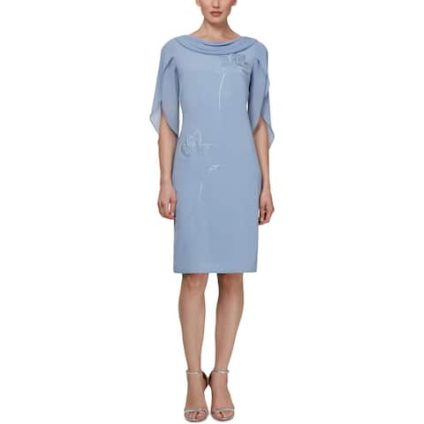 SLNY Womens Sheath Dress Embellished Cocktail - Periwinkle