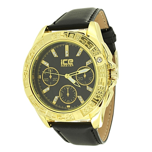 Gold Tone Mens Watch Round Black Dial Ice Master Black Leather Band Water Resist