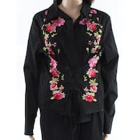 INC Black Womens Size Large L Embroidered Lace Up Corset Blouse