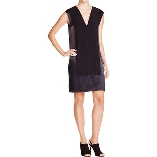 Vince Womens Casual Dress Faux Trim Sleeveless