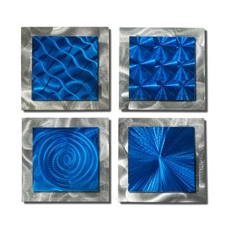 Statements2000 Set of 4 Blue/Silver Metal Wall Art Accents by Jon Allen - 4 Squares Blue
