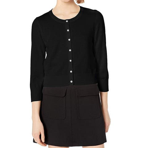Karl Lagerfeld Womens Sweater Black Size Large L Cardigan Button Down