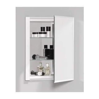 Robern RC1620D4FB1 R3 16  x 20  x 4  Beveled Single Door Medicine Cabinet  with R. Zenith Frameless Aluminum Medicine Cabinet   Free Shipping Today