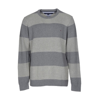 Tommy Hilfiger Intrepid Sweater XX-Large Gray Striped Crewneck Pullover - 2XL