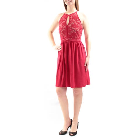 MORGAN & CO Womens Red Lace Low Back Spaghetti Strap Keyhole Above The Knee Fit + Flare Party Dress Juniors Size: 9