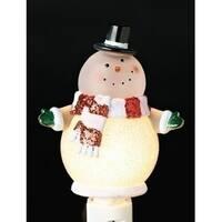 "6"" Christmas Whimsy Glitter Accent Goofy Snowman Night Light - White"