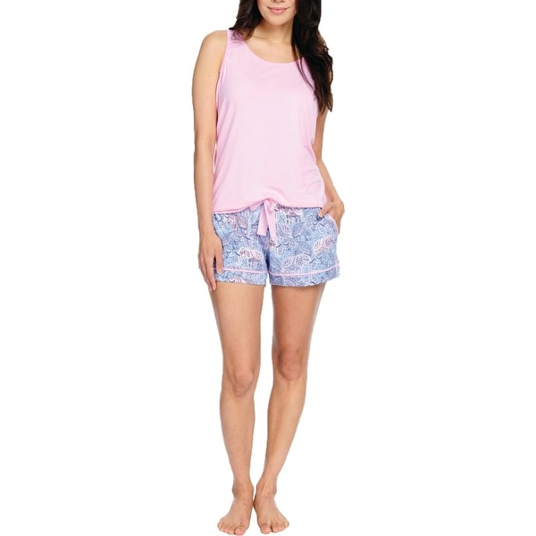 Munki Munki Women's Elephant Print Tank Top & Shorts Pajama Sleepwear Set - Pink/Blue. Opens flyout.
