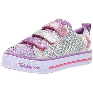 Skechers Kids Girls' Twinkle Lite-Sparkle Scales Sneaker, Silver/Multi, 10.5 Medium Us Little Kid