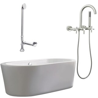 """Giagni LV1-C Ventura 67"""" Free Standing Soaking Tub Package - Includes Tub, Tub Feet, Wall Mounted Tub Filler Faucet, and Drain"""