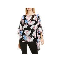 Vince Camuto Womens Poncho Top Chiffon Floral Print