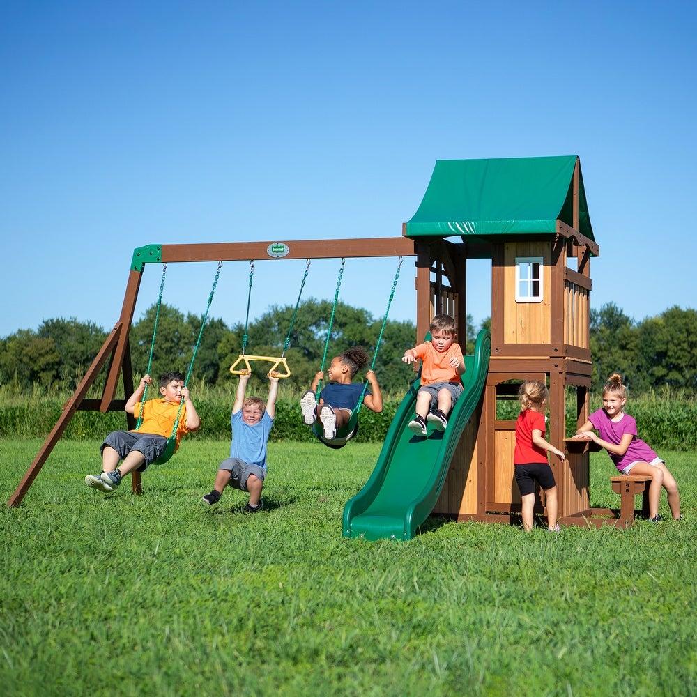 Get Backyard Discovery Weston Cedar Wooden Swing Set ...
