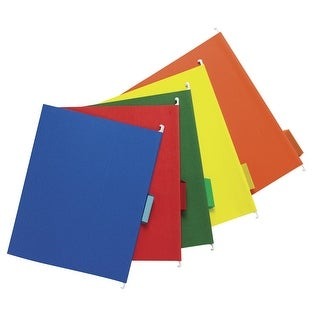 School Smart Mediumweight 1/5 Cut Colored Hanging File Folder, Letter, Assorted Colors, Pack of 25