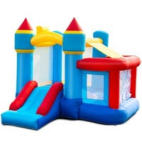 Gymax Inflatable Bounce House Castle Slide Bouncer Kids Basketball Hoop Without Blower - as pic