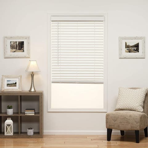 "Global Pronex 2""Cordless Fauxwood Venetian Blind White with Wand Tilt,Installation Instruction,Hardware-Multi Size"
