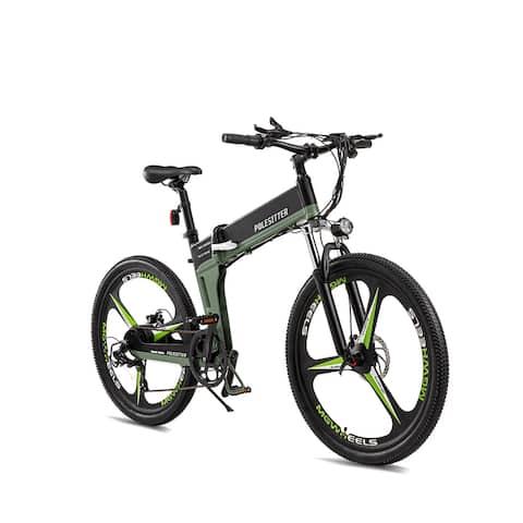 POLESITTER Subdued Greens/Greys Folding Electric Bike in 7 Speed 350W