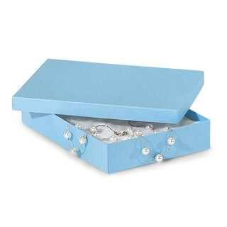 """Pack of 100, Solid 7 x 5 x 1.25"""" Light Blue Jewelry Boxes"""
