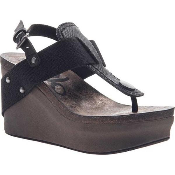 c0658fe5123 Shop OTBT Women s Joyride Wedge Sandal Black Leather Textile - Free  Shipping Today - Overstock - 18013458