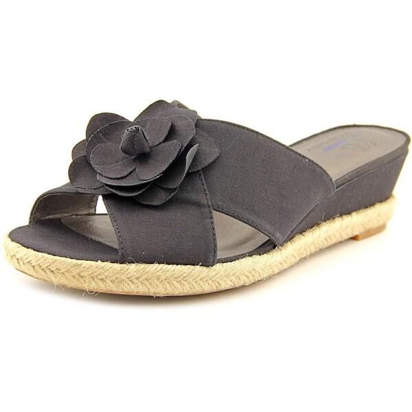 Life Stride Omega Women Open Toe Canvas Wedge Sandal