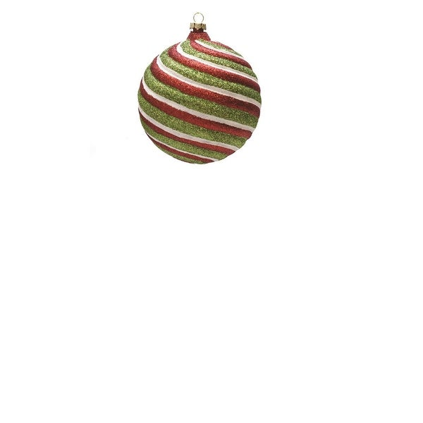 """Merry & Bright Red, White and Green Glitter Swirl Shatterproof Christmas Ball Ornament 4"""" (100mm)"""