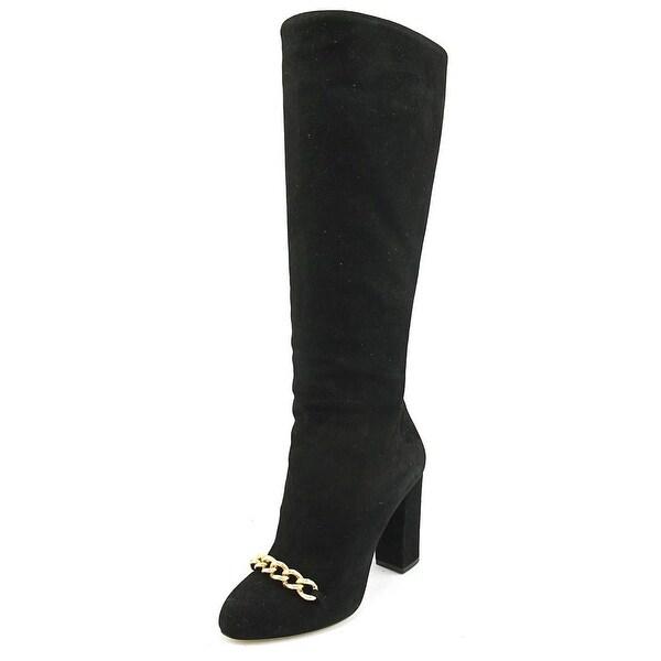 Charlotte Olympia Barbara Women Round Toe Suede Black Knee High Boot