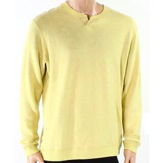 Tommy Bahama NEW Yellow Mens Size Medium M Split-Neck Henley Sweater