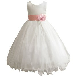 Wedding Easter Flower Girl Dress Wallao Ivory Rattail Satin Tulle (Baby - 14) Pink
