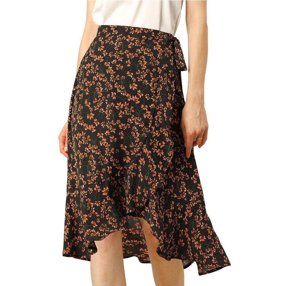 Womens Floral Printed Wrap Skirt Asymmetrical Ruffle Tie Waist Skirts