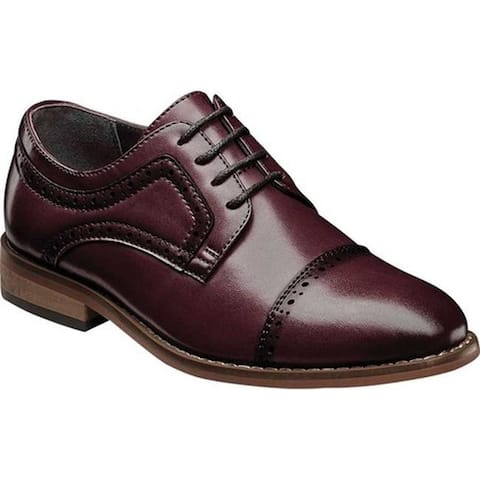 Stacy Adams Boys' Dickinson Perforated Cap Toe Oxford Burgundy Leather