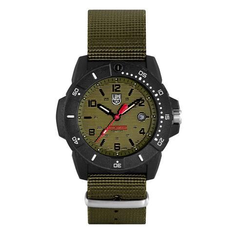 Luminox Men's XS.3617.SET Sea Series Black Carbonox Green Webbing Strap Watch