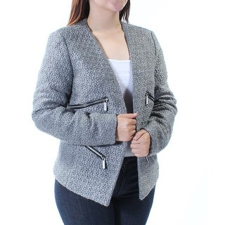 Womens Gray Open Cardigan Wear To Work Top Size 4