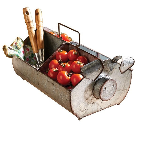 Shop Kalalou Galvanized Metal Pig Garden Basket   Animal Shaped Holder For  Tools, Flowers, Vegetables And Accessories   Free Shipping Today    Overstock   ...