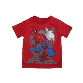 "Marvel Little Boys Red Blue Gray ""Spidey"" Print Short Sleeved T-Shirt"