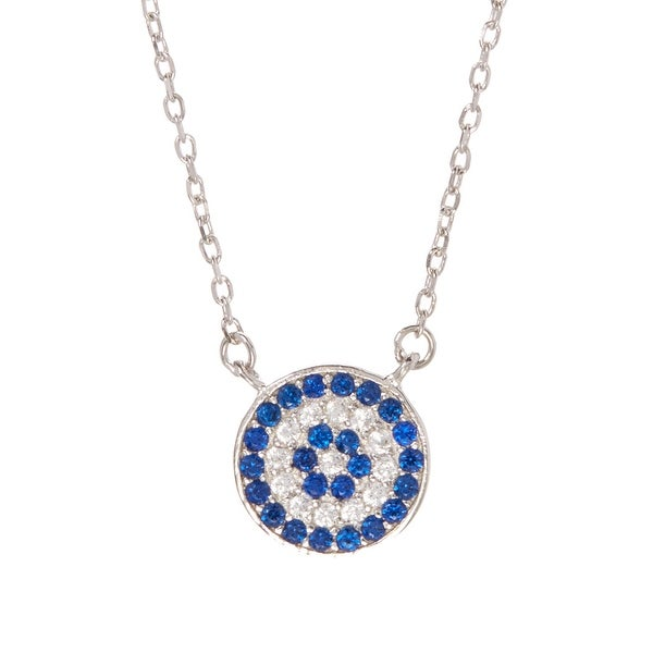 Blue Cubic Zirconia & Sterling Silver Disk Pendant Necklace